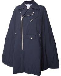 Comme Des Garçons Quilted Zipped Biker Cape Jacket Navy - Lyst