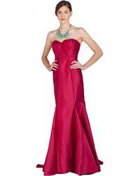 Badgley Mischka Mikado Strapless Evening Gown - Lyst