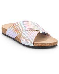 Loeffler Randall Perta Iridescent Metallic Leather Sandals white - Lyst