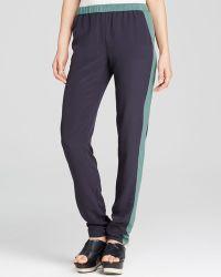 Tory Burch Lennie Slim Silk Pants - Lyst