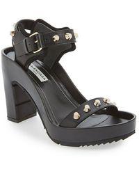 Balenciaga Studded Leather Platform Sandal - Lyst