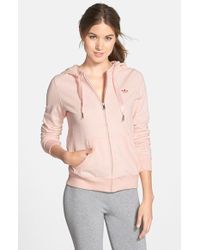 Adidas Slim Front Zip French Terry Hoodie pink - Lyst