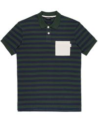 Paul Smith Green And Navy Stripe Contrast-Pocket Polo Shirt - Lyst