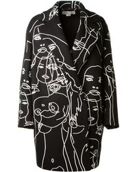 Stella McCartney Black Melton Wool Fortune Coat with Face Design By The British Artist Gary Hume - Lyst