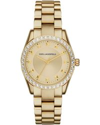 Karl Lagerfeld Womens Petite Stud Gold Ion-plated Stainless Steel Bracelet Watch 34mm - Lyst