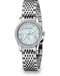 Gucci G-timeless Stainless Steel Bracelet Diamond Watch - Lyst