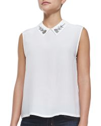 Equipment Elliot Sleeveless Shirt W/ Embellished Collar - Lyst