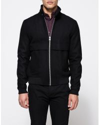 Topman   Black Wool Harrington   Lyst