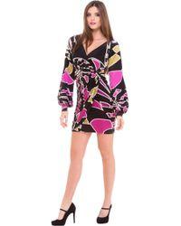 Analili Abstract Print Long Sleeve Surplus Dress - Lyst