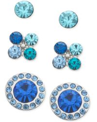 Guess Silvertone Blue Crystal Flower and Disc Stud Trio - Lyst