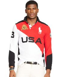 Polo Ralph Lauren Custom Fit Snow Polo Color Blocked Rugby Shirt - Lyst