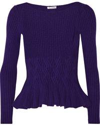 Oscar de la Renta Cable-Knit Wool And Cashmere-Blend Peplum Sweater - Lyst
