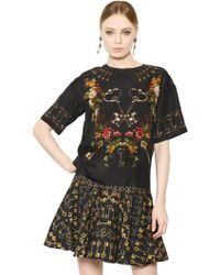 Dolce & Gabbana Keys Floral Silk Crepe De Chine Top - Lyst