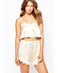 Lavish Alice - Champagne Crop Pyjama Top - Cream - Lyst