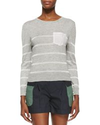 Band of Outsiders Long-Sleeve Knitted Striped Sweater - Lyst