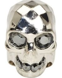 Alexander McQueen Jet Black Gem Embellished Silver Skull Ring - Lyst
