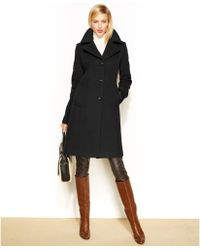 Anne Klein Petite Wool-Cashmere-Blend Walker Coat - Lyst