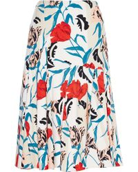 Thakoon Floral Print Seamed Crepe Skirt - Lyst