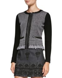 Nanette Lepore Intrigue Leathertrim Tweed Jacket - Lyst
