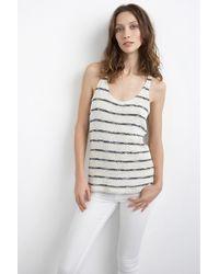 Velvet By Graham & Spencer Anona Cotton Crochet Stripe Tank Top white - Lyst