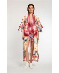 Temperley London Long Coralie Check Kimono red - Lyst