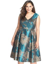 Adrianna Papell Metallic Jacquard Fit & Flare Midi Dress - Lyst