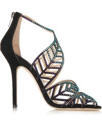 Jimmy Choo Kallai Crystal-embellished Suede Sandals - Lyst