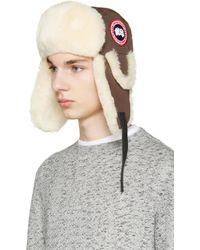 Canada Goose - Brown Shearling Aviator Hat - Lyst