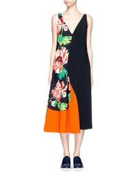 Stella McCartney | Poppy Print Colourblock Cady Dress | Lyst