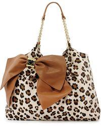 Betsey Johnson Bow Tie Leopardprint Fauxleather Tote - Lyst