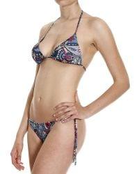 Frankie Morello - Beachwear Cachemire And Anchors Printed Triangle Bikini Swimwear - Lyst