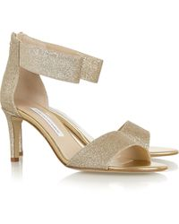 Diane von Furstenberg Kinder Glitter-Finished Leather Sandals - Lyst