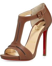 Christian Louboutin In My City Leather Tstrap Red Sole Sandal Cognac - Lyst