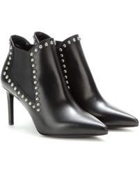 Saint Laurent Embellished Leather Ankle Boots - Lyst