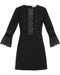 Self-Portrait   Bell-sleeved Lace-insert Dress   Lyst