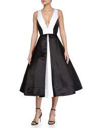 Alice + Olivia Brennan Deep-V Colorblock Dress - Lyst