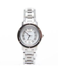 Hermes Preowned Silver Clipper H Watch - Lyst