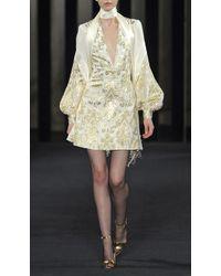 J. Mendel Silk Crepe And Charmeuse V-Neck Dress - Lyst