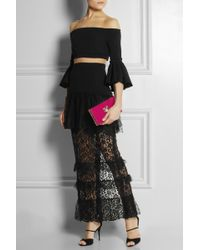Alessandra Rich Stretchsilk Crepe and Lace Gown - Lyst