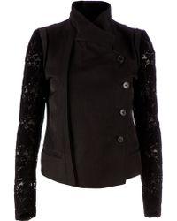 Ann Demeulemeester Embroidered Sleeve Blazer - Lyst