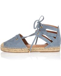 River Island | Blue Tie-up Espadrille Sandals | Lyst