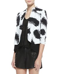Alice + Olivia York Brush Print Cropped Crepe Jacket - Lyst