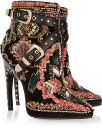 Emilio Pucci Embellished Suede Ankle Boots - Lyst