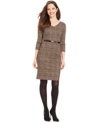 Jones New York Petite Plaid Shift Dress - Lyst