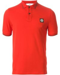 Stone Island Logo Embroidered Polo Shirt - Lyst