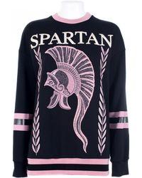 "Fausto Puglisi Cotton Sweater Embroidery ""Spartan"" black - Lyst"