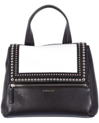Givenchy Black And White Leather Pandora Pure Medium Bag black - Lyst
