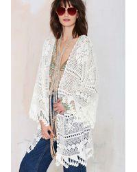 Nasty Gal Somedays Lovin Big Wave Crochet Kimono - Lyst