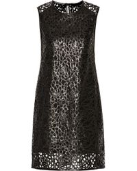 Karl Lagerfeld Resi Embroidered Faux Leather Mini Dress - Lyst