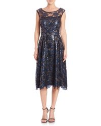 Kay Unger | Sequined Cap Sleeve Dress | Lyst
